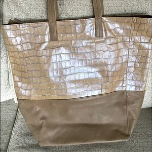 Large leather tote Hibou brand